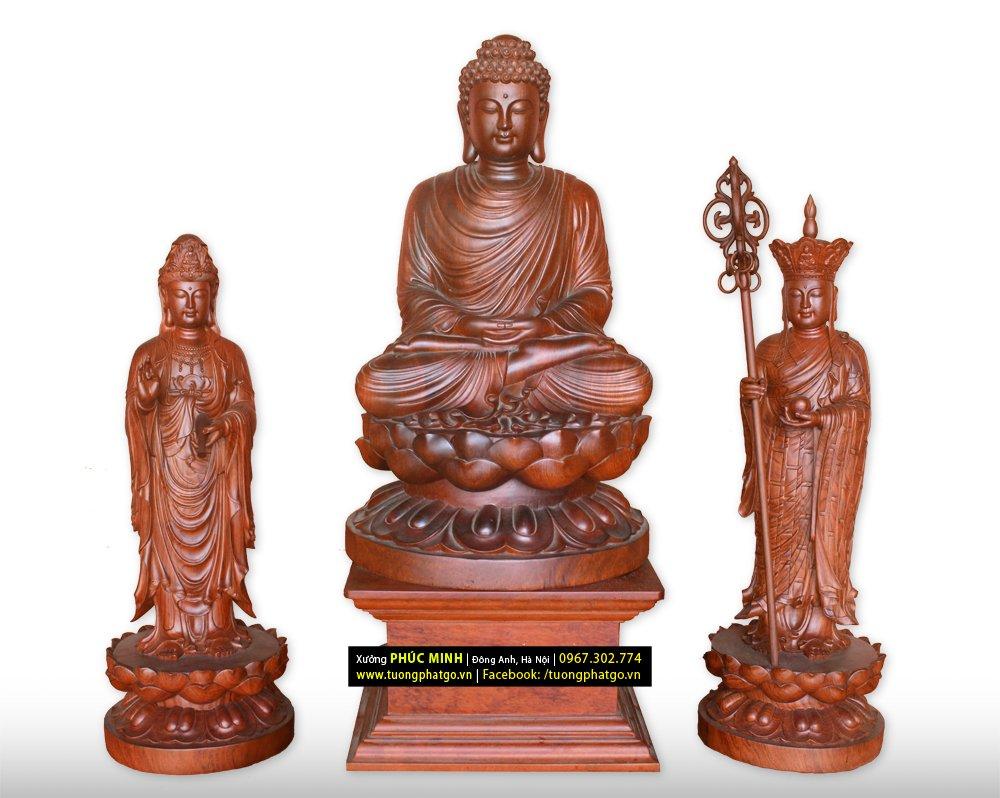 Bộ tôn tượng Sa bà tam thánh trong đó tượng Phật Thích Ca ngồi, 2 tượng Bồ tát Quan âm và Địa tạng đứng