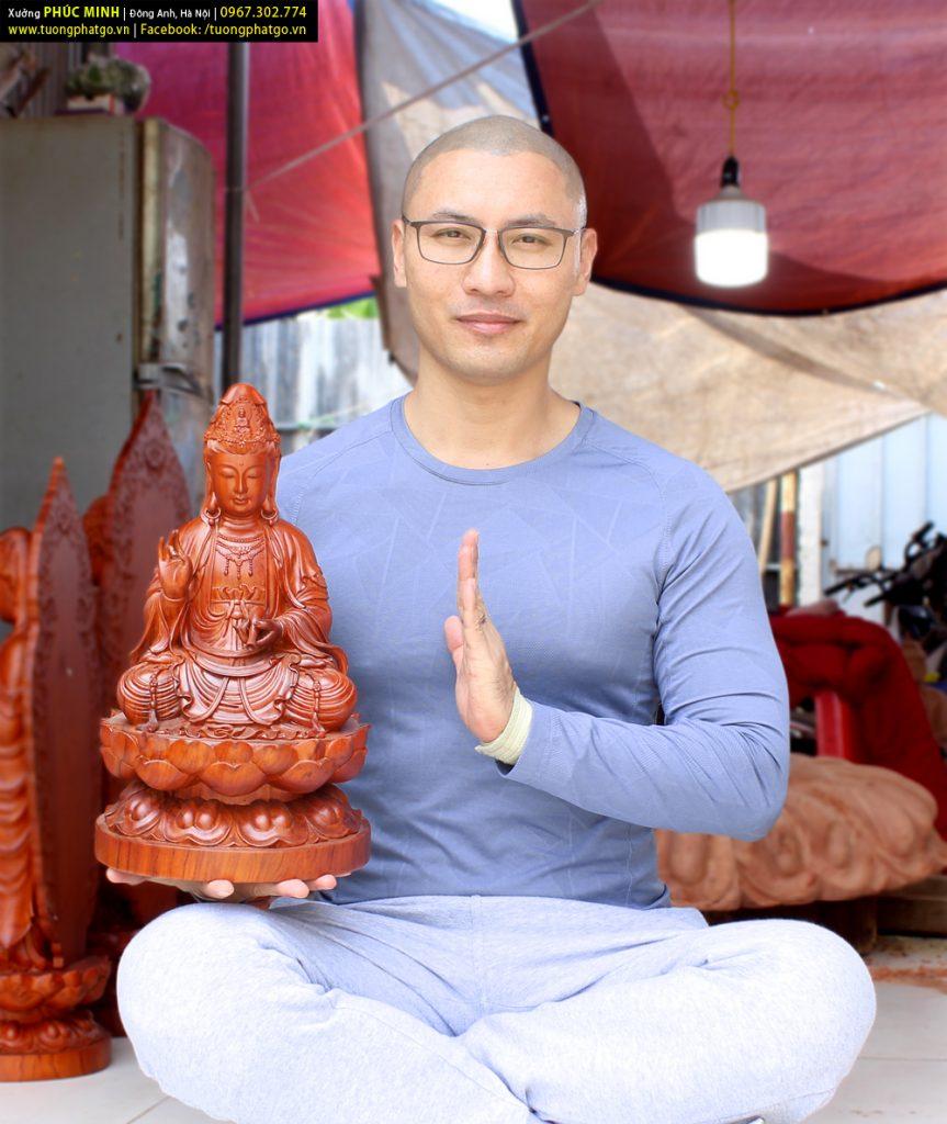 Tượng Quan âm Bồ tát ngồi cao 40cm
